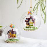 Casa delle bambole della sfera di vetro della miniatura di DIY 3D LED Camera di bambola chiara di controllo del suono Regalo di Natale creativo