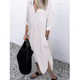 Polka Dot Imprimer Casual Chemises longues lâches Robe avec poches