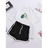 Women Casual Avocado Print Pajamas Set Short Sleeve Sleepwear