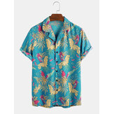 Tropical Floral Forest Parrot Print Manga curta Revere Shirts