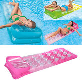 188 x 71cm PVC Air Mattress Lounger Float Mat Inflatable Float Bed Swimming Pool Random Color with Headrest
