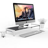 Computer Laptopstandaard Gehard glas Desktop Storage Bracket Display met 3 USB 2.0 Fast Charge