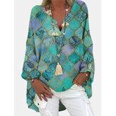 Kadın Geometrik Karışık Baskı Uzun Kollu Vintage V Yaka Günlük Giyim Bluz