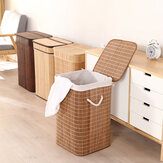 35x35x57cm Foldable Bamboo Woven Laundry Basket Toy Clothes Storage Basket