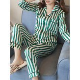 Women Striped Revere Collar Button Up Long Sleeve Shirt Two Piece Pajama Set