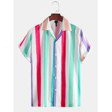 Mens Yeni Moda Renk Çizgili Kısa Kollu Gömlek