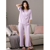 Women Softies Solid Color Lace Trim Half Sleeve Home Casual Pajama Set
