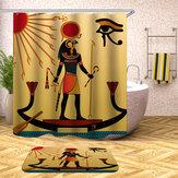 Tende impermeabili della doccia di stile egiziano con i corredi della stuoia della coperta della toilette del bagno dei ganci 12pcs