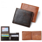 RFID Blocking Men's Purse Genuine Leather Bifold Anti Theft Credit Card Wallet