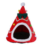 Cat Pet Dog Christmas Tree Shape Velvet Warm House Cave Beds Indoor Cats Cozy Wool Igloo Pet House