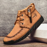 Men Hand Stitching Microfiber Leather Non Slip Comfy Casual Ankle Boots