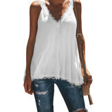 Casual Summer V-neck Lace Patchwork Sleeveless Tank Top