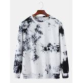 Sweatshirt ample à col rond à imprimé tie-dye 100% coton