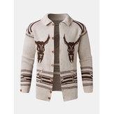 Mens Vintage Modello cardigan maglione lavorato a maglia caldo monopetto
