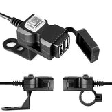 Waterproof 12V 5V 3.1A Dual USB Charger Motorcycle Charging Adapter With ON/OFF Switch Handbar Mirror Installation