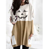 Women Halloween Contrast Patchwork Print Casual Mid-Length Sweatshirts With Pockets