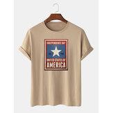 100%コットンUSA独立記念日プリントレジャーレジャーショートスリーブTシャツ