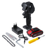 4'' 24V Rechargeable Cordless Electric Saw Mini Handheld Chainsaw Wood Cutter Tool W/ None/1pc/2pcs Battery