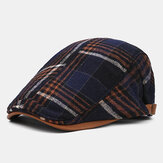 Collrown Mænd Retro Casual Udendørs Plaid Stripe Mønster Patchwork Beret Hat Forward Hat