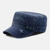 גברים דנים רקמת כוכבי ג'ינס ישנים לנשימה שמש השמש לנשימה כובע צבאי שטוח כובע פסגה