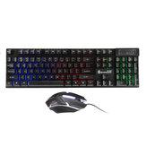 D500 104-klawiszowa przewodowa klawiatura do gier USB, podświetlana RGB, mysz do gier 1600 DPI z podkładką pod mysz do komputera stacjonarnego