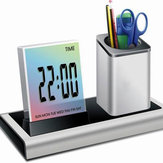 Loskii DX-222 Colorful Black Digital LED Desk Alarm Clock Mesh Pen Holder Calendar Timer Thermometer