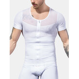 Mens Shape High Elastic Breathable Zipper Short Sleeve Sport Tops