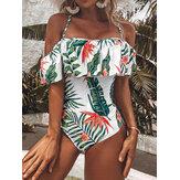 Тропический Растение Принт с рюшами и бретельками Backless Holiday One Piece Гавайский стиль Купальный костюм