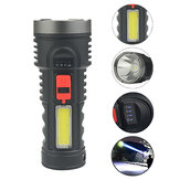 XANES® 4-Modes Long Throw LED Flashlight With COB Sidelight Portable LED Torch Power Indicator For Hunting Fishing