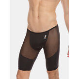 Mens Solid Color See Through Breathable Light High Elasticity Low Waist Fitness Shorts Shapewear