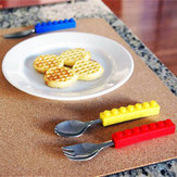 3PCS Creative Building Blocks Servies Portable Block Fork Lepel Flatware Servies