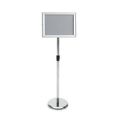 Adjustable A4 Metal Display Pedestal Sign Floor Holder Stand Poster Silver HQ