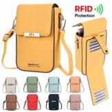 Baellerry RFID Large-Capacity Front Pocket + Back Card Bag Fashion PU Leather Mobile Phone Women Shoulder Bag Crossbody Bag