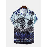Mens Casual Gradient Tropical Coconut Print Revel Collar Short Sleeve Hawaii Shirts