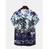 Heren casual gradiënt tropische kokosnoot print kraag met korte mouwen Hawaii shirts