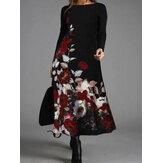 Женщины с цветочным принтом круглые Шея с длинным рукавом повседневные платья макси