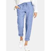 Calça feminina casual cor sólida elástica com bolsos laterais Calças