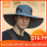 Collrown Mens Bucket Hat Outdoor Fishing Hat Climbing Mesh Breathable Sunshade Cap Oversized Brim With String