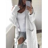 Cardigan di lana sintetica con tasca frontale aperta in tinta unita da donna