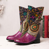 SOCOFY Women's Splicing Tribal Pattern Basel Mid-calf Zipper Western Boots
