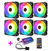 Coolmoon 6PCS 120mm RGB PC Fans Control Music Rhythm Monochromatic Light Adjustable Cooling Fan With the Remote Control