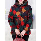 Vinatge Women Thick Warm Print Hooded Pockets Coats