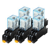 5 PCS 12V DC Colay Power Relay LY2NJ DPDT 8 Pin HH62P JQX-13F con Enchufe Base Power Relay Coil Power Relay