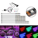 8PCS Авто мотоцикл ATV Strip RGB LED Дистанционный Under Glow Neo Многоцветный свет Набор