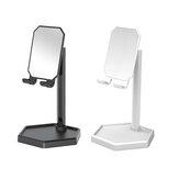 Bakeey Universal Destacável Espelho Rotativo 360 ° Portátil Suporte para Telefone com Prateleira para Armazenamento de Mercadorias para Samsung Xiaomi