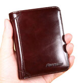جلد طبيعي للرجال RFID Blocking Secure Tri-fold Wallet