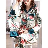 Kadın Bitki Yaprak Baskı Revere Yaka Uzun Kollu Sahte İpek İki Parçalı Ev Pijama Takımı