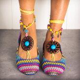 LOSTISY perlée chaîne arc-en-ciel rayure tissu Bohême chaussures plates décontractées
