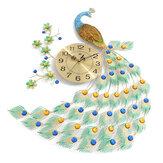 الصفحة الرئيسية معدن كبير الطاووس الفاخرة الماس الحائط ساعةحائط غرفة المعيشة ديكور فني