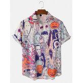 رجل هالوين مضحك الحيوان اليقطين الشكل طباعة قمصان فضفاضة عارضة قصيرة الأكمام